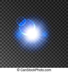 lumière bleue, flash, effet, lentille, incandescent, flamme