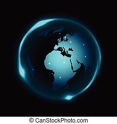 lumière bleue, globe, néon, sombre, vecteur, fond