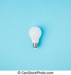 lumière bleue, haut, isolé, ampoule, fin, blanc, vue