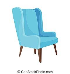 lumière bleue, illustration, élevé, arrière-plan., vecteur, legs., fauteuil, blanc