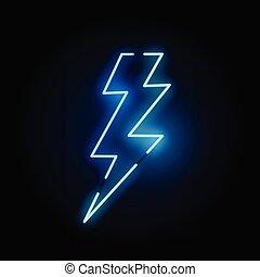 lumière bleue, néon, boulon, éclair