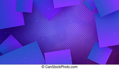 lumière bleue, résumé, lignes, conception, mince, carrés