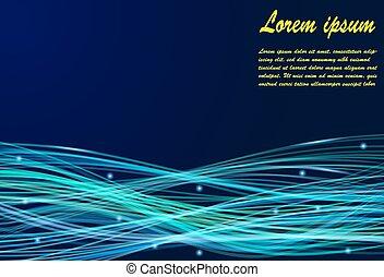 lumière bleue, résumé, lignes, fond, courbé