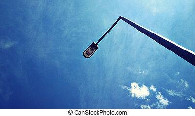 lumière bleue, rue, ciel