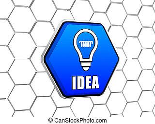 lumière bleue, symbole, idée, ampoule, hexagone