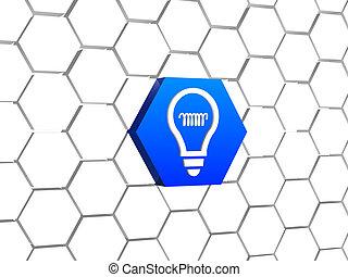 lumière bleue, symbole, -, idée, ampoule, hexagone