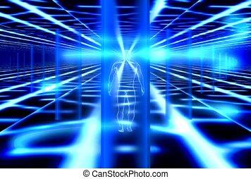 lumière bleue, transparent, humain