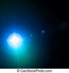 lumière bleue, vecteur, effect., flamme