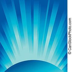 lumière bleue, vecteur, rayons