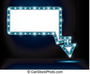lumière, board., signe, arrow., clair, retro, vendange, panneau affichage, briller