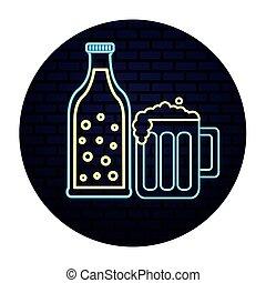 lumière, boisson, néon, botlle, verre, bière