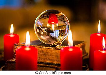 lumière bougie, prophétiser, balle, cristal
