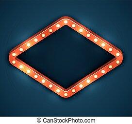 lumière, cadre, ampoule, chapiteau