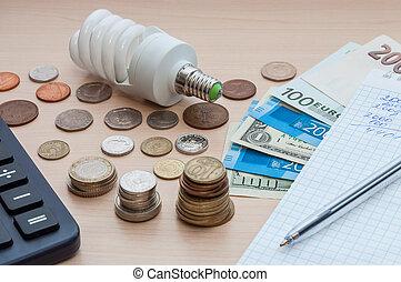 lumière, calculatrice, factures, cahier, divers, argent, stylo, table., ampoule