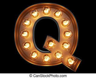 lumière, caractère, q, alphabet, ampoule, police