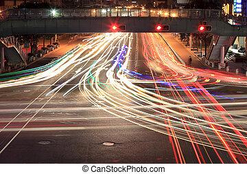 lumière, carrefour, traces, nuit
