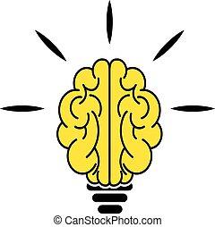 lumière, cerveau, ampoule, icône
