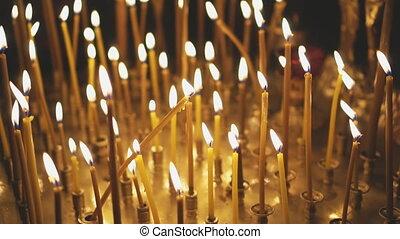 lumière, church., métal, cresset, bougie