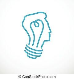 lumière, clair, créatif, logo., concept, intelligent, vecteur, esprit, personne, profile., enfant, ampoule, cerveau, tête, icon., forme, idée, brain-storming, pensée