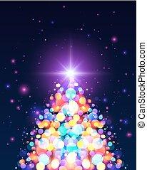 lumière claire, arbre, bokeh, effet, couleurs, noël
