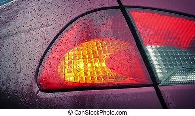 lumière, clignotant, dos, pluie, voiture