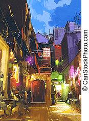 lumière, coloré, village