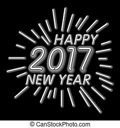 lumière colorée, -, vecteur, fond, année, nouveau, 2017, néon, heureux
