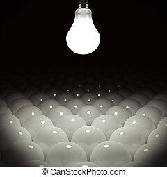 lumière, concept, ampoule
