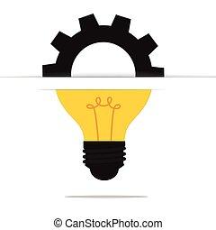 lumière, concept, engrenage, ampoule, idée