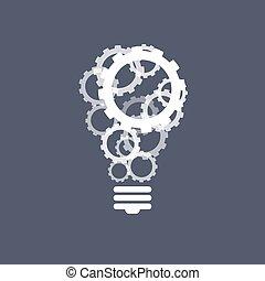 lumière, concept, engrenages, ampoule, inspiration