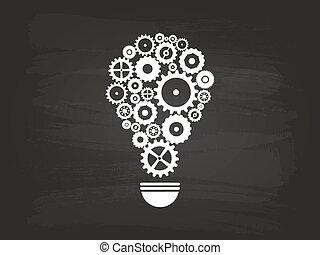 lumière, concept, idée, ampoule, engrenages