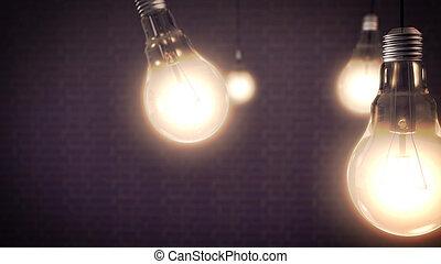 lumière, concept, idée, ampoules