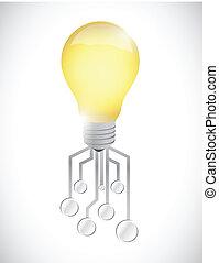 lumière, conception, circuit, illustration, ampoule