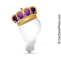 lumière, conception, couronne, illustration, ampoule