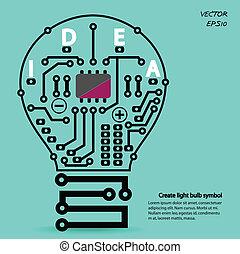lumière, créatif, ampoule, signe