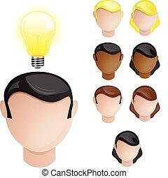 lumière, créativité, têtes, ampoule, gens