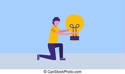 lumière, créativité, tenue, ampoule, genou, homme