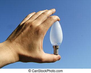 lumière, dans, main