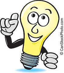 lumière, dessin animé, ampoule