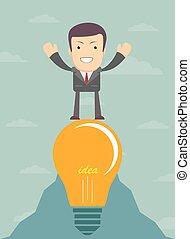 lumière, dessin animé, homme affaires, jeune, ampoule