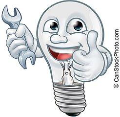 lumière, dessin animé, mascotte, ampoule, lightbulb, caractère