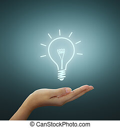 lumière, dessin, idée, ampoule, main