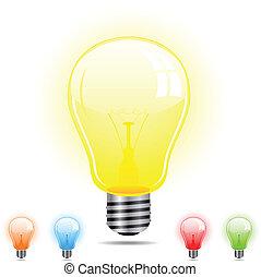 lumière, différent, 5, couleurs, ampoule