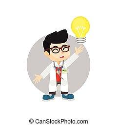 lumière, docteur, idée, ampoule