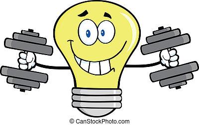 lumière, dumbbells, ampoule