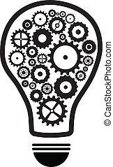 lumière, engrenages, ampoule, idée