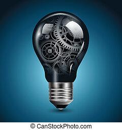 lumière, engrenages, ampoule
