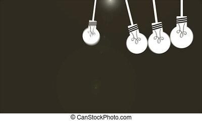 lumière, ensemble, animation, ampoule