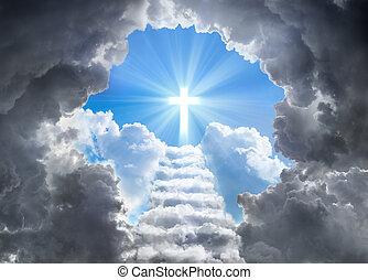 lumière, escalier, croix, mener