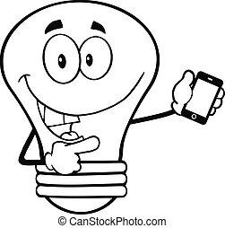 lumière, esquissé, caractère, ampoule